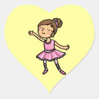 Cartoon Ballet Dancer Heart Sticker