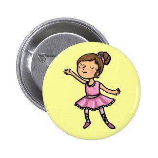 Cartoon Ballet Dancer Pinback Button