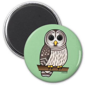 Cartoon Barred Owl 2 Inch Round Magnet