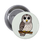 Cartoon Barred Owl Button