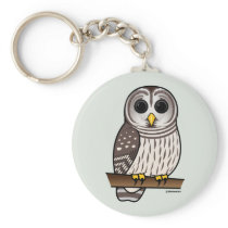Cartoon Barred Owl Keychain