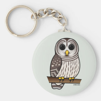 Cartoon Barred Owl Keychain