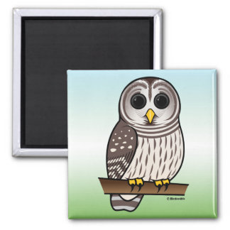 Cartoon Barred Owl Fridge Magnets