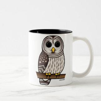 Cartoon Barred Owl Two-Tone Coffee Mug