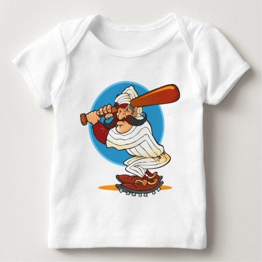 Cartoon Baseball Batter Baby T-Shirt