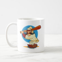 Cartoon Baseball Batter Mug - fun and colorful cartoon baseball player.