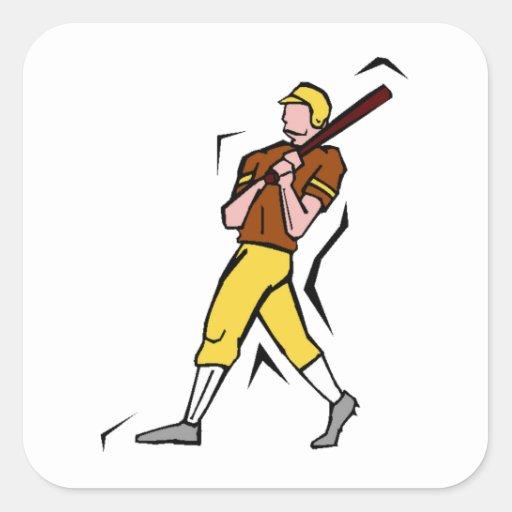 Cartoon Baseball Batter Square Stickers