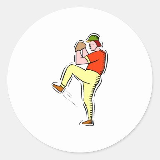 Cartoon Baseball Pitcher Round Stickers