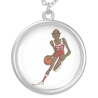 cartoon basketball player character dribbling round pendant necklace