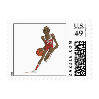 cartoon basketball player character dribbling postage stamp