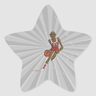 cartoon basketball player character dribbling star sticker