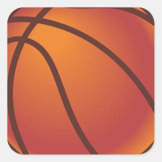 Cartoon Basketball Square Sticker
