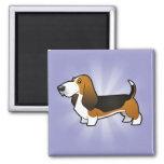 Cartoon Basset Hound 2 Inch Square Magnet