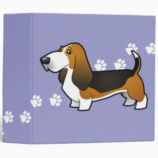 Cartoon Basset Hound 3 Ring Binder