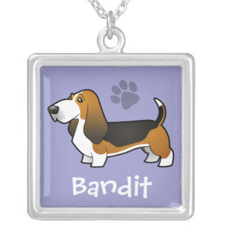 Cartoon Basset Hound (add your pets name) Square Pendant Necklace