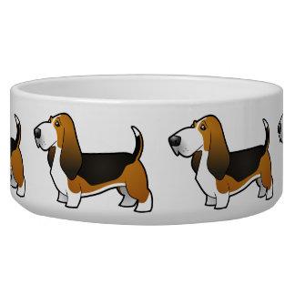 Cartoon Basset Hound Dog Bowls
