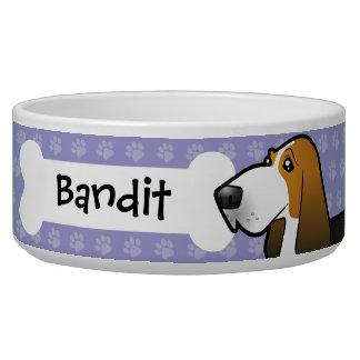 Cartoon Basset Hound Dog Food Bowl