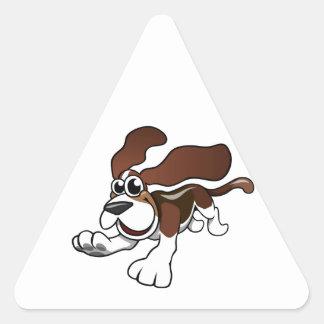 Cartoon Basset Hound Triangle Sticker