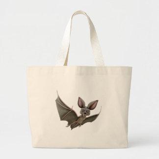 Cartoon Bat with Wings in Upstroke Large Tote Bag