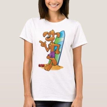 Beach Themed cartoon beach dog T-Shirt