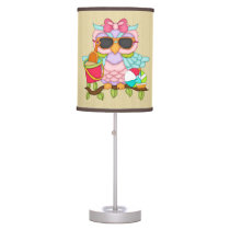 Cartoon Beach owl table lamp