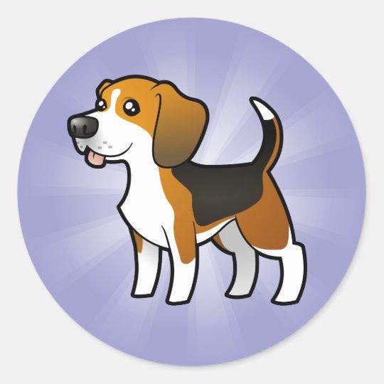 Cartoon Beagle Classic Round Sticker