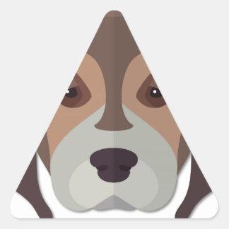 Cartoon Beagle Head Triangle Sticker