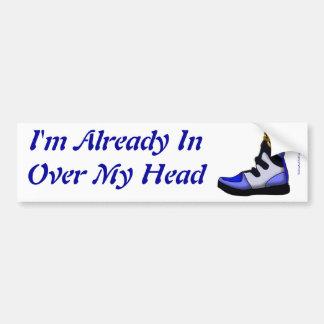 Cartoon Beagle In a shoe in over my head Bumper Sticker