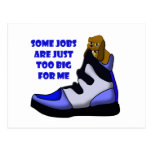 Cartoon beagle in big shoe, job is too big for me post cards
