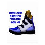 Cartoon beagle in big shoe, job is too big for me post card