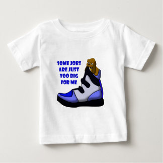 Cartoon beagle in big shoe, job is too big for me tees