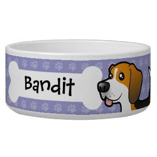 Cartoon Beagle Dog Food Bowls