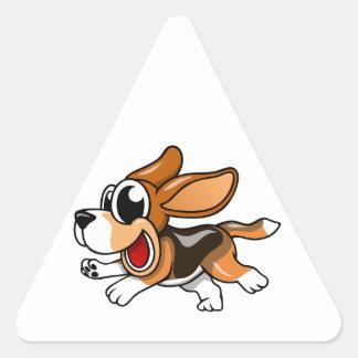 Cartoon Beagle Triangle Sticker