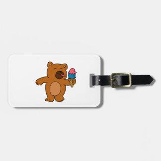 Cartoon bear eats ice cream bag tag