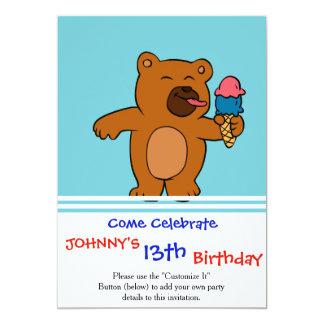 Cartoon bear eats ice cream card