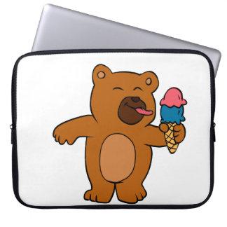 Cartoon bear eats ice cream computer sleeve