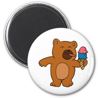 Cartoon bear eats ice cream magnet
