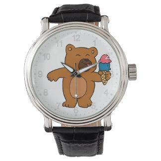 Cartoon bear eats ice cream watch