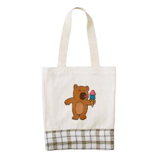 Cartoon bear eats ice cream zazzle HEART tote bag