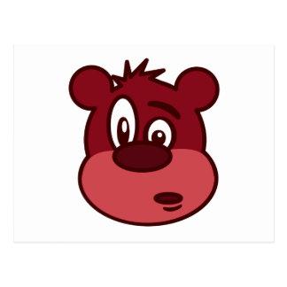 Cartoon Bear Face Postcard