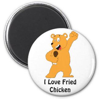 Cartoon Bear Holding Fried Chicken Drumstick 2 Inch Round Magnet