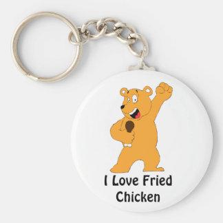 Cartoon Bear Holding Fried Chicken Drumstick Basic Round Button Keychain