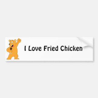 Cartoon Bear Holding Fried Chicken Drumstick Bumper Sticker
