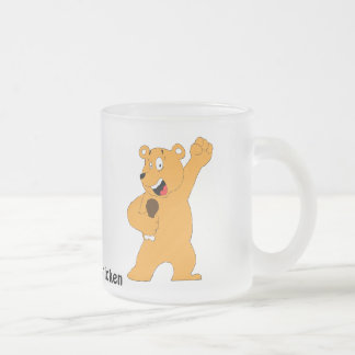 Cartoon Bear Holding Fried Chicken Drumstick Frosted Glass Coffee Mug