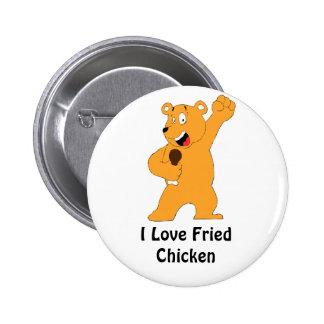 Cartoon Bear Holding Fried Chicken Drumstick Pinback Button
