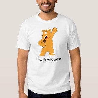Cartoon Bear Holding Fried Chicken Drumstick T Shirt