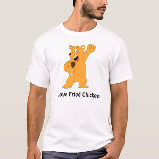 Cartoon Bear Holding Fried Chicken Drumstick T-Shirt