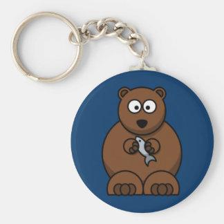 Cartoon Bear Basic Round Button Keychain