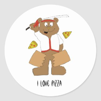 Cartoon Bear Slicing Pepperoni Pizza Classic Round Classic Round Sticker