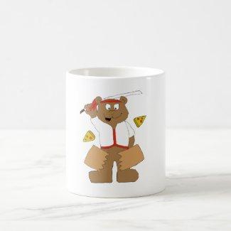 Cartoon Bear Slicing Pepperoni Pizza Coffee Mug